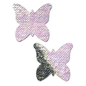 Pastease White Silver Flip Sequin Butterfly Pastie